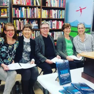 Authors featured in True Stories reading and signing at The Neverending Bookshop, L to R: KristiLyn Reddy, Lora Hein, Seán Dwyer, Tori Peters, Cami Ostman