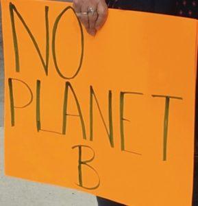 No Planet B orange sign