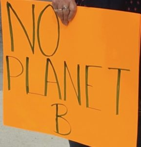 No Planet B orange sign